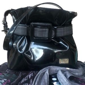 NWOT- Bejio Black Patent & Plaid Shoulder Bag
